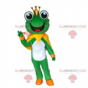 Mascota de la rana con una corona, traje de príncipe -