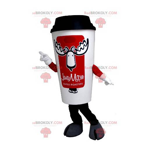 Maskot bílý a červený šálek kávy - Redbrokoly.com