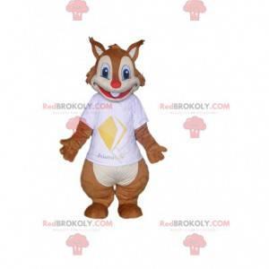 Mascotte scoiattolo marrone e bianco, costume della foresta -