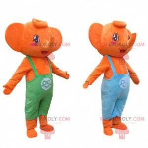 2 orangefarbene Elefantenmaskottchen in bunten Overalls -