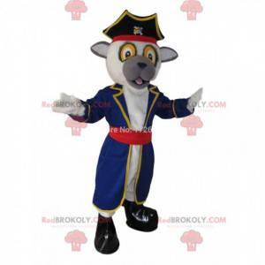 Mascote de cachorro em traje de pirata, fantasia de pirata -