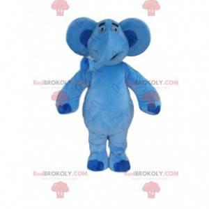 Blue elephant mascot, big plush pachyderm costume -