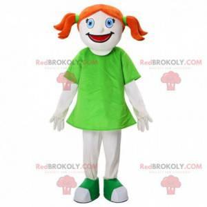 Rødhåret pige maskot, barnedragt med dyner - Redbrokoly.com