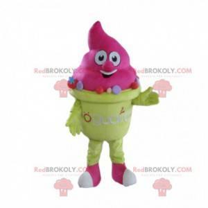 Mascote de sorvete rosa, fantasia de casquinha de sorvete -