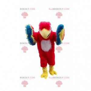 Mascote papagaio vermelho, amarelo, azul e branco -