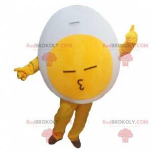 Mascote gigante de ovo branco e amarelo, fantasia de ovo cozido