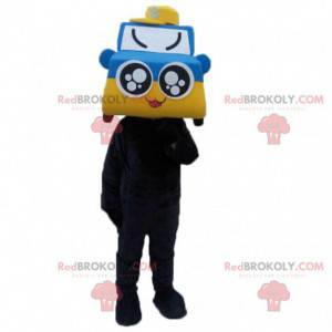 Blauw en geel auto mascotte, autokostuum - Redbrokoly.com