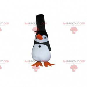 Sort og hvid pingvin maskot med en stor sort hat -