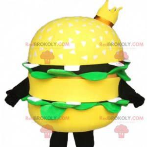 Mascote gigante de hambúrguer amarelo, com uma coroa -