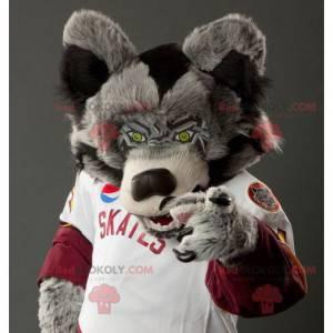 Mascotte del lupo grigio in bianco e nero - Redbrokoly.com