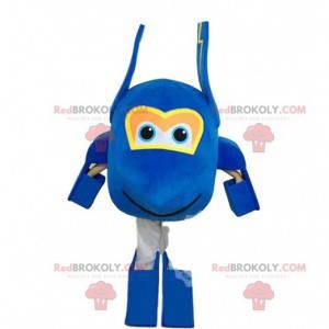 Reusachtig blauw vliegtuig mascotte, groot vliegtuig kostuum -