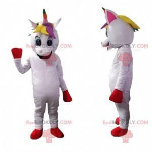 Mascote unicórnio branco com crina multicolorida -