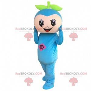Mascotte blauwe sneeuwman, zeer glimlachend blauw fruitkostuum