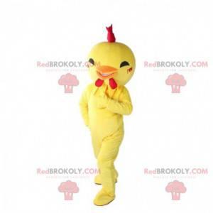 Mascote pássaro amarelo, fantasia de frango, galinha -