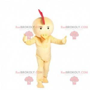 Mascotte di pollo, costume da gallina, uccello giallo -