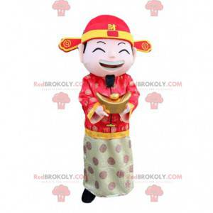 Aziatische man mascotte, god van het fortuin kostuum -