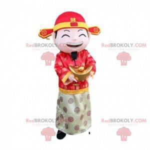 Disfraz de hombre asiático, dios de la riqueza, mascota