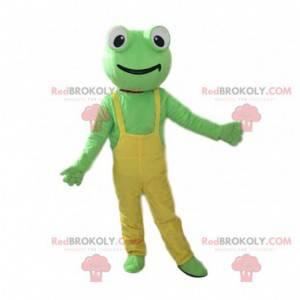 Maskot zelená žába se žlutými kombinézy - Redbrokoly.com