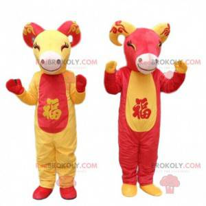 2 mascots of red and yellow goats, goat costumes -