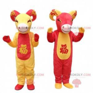 2 mascottes van rode en gele geiten, geitenkostuums -