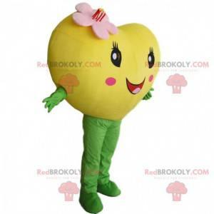 Reusachtig geel hart mascotte, romantisch en bloemrijk kostuum