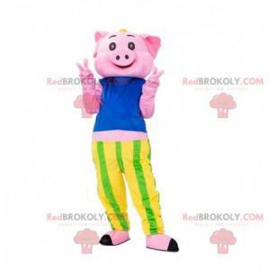 Mascotte maiale rosa con una maglietta a righe e pantaloni -