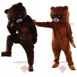 2 maskoti hnědého medvídka se slunečními brýlemi -