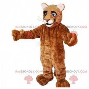 Puma-Maskottchen, brauner Puma, plüschiges Katzenkostüm -