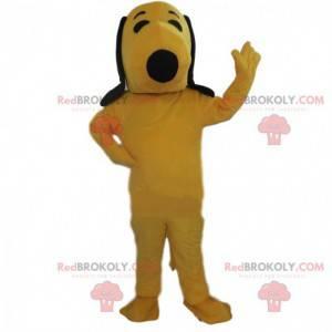 Mascot Snoopy, den berømte tegneseriehund, gul hundedragt -