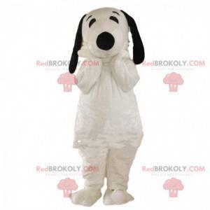 Snoopy mascotte, beroemde cartoon witte en zwarte hond -