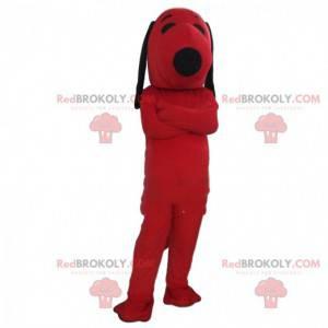 Snoopy mascotte, de beroemde hond uit het stripboek, rood
