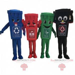 4 kleurrijke garbage dumpster-mascottes, vuilnisbakkostuums -