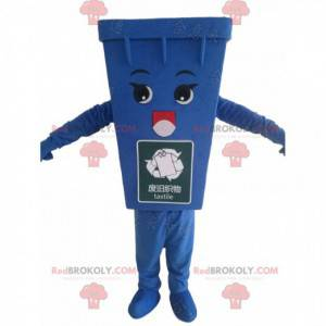 Blå dumpster maskot, blå skraldedragt - Redbrokoly.com