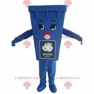 Mascotte blauw afvalcontainer, blauw vuilniskostuum -