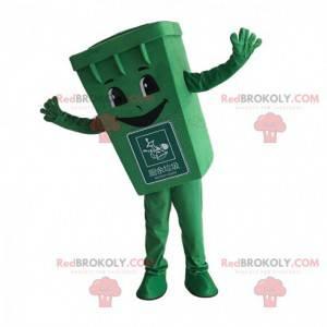 Mascota de basura verde, disfraz de contenedor de basura -