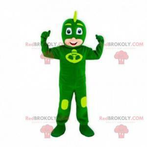 Mascote do menino com uma combinação verde de super-heróis -