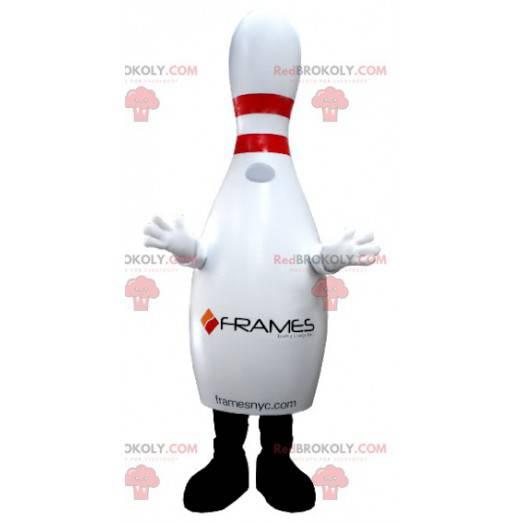 Obří bílý a červený bowling maskot - Redbrokoly.com
