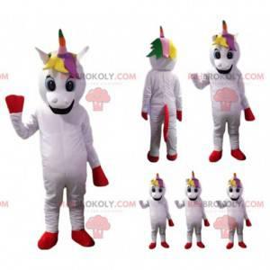 Mascote unicórnio branco com uma juba de arco-íris -