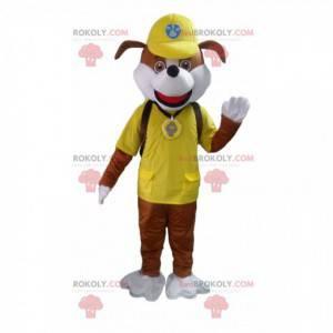 Mascote de cachorro marrom e branco do desenho Paw Patrol -