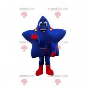 Mascote estrela azul com capa vermelha e fantasia de super