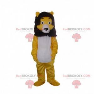 Mascote leão amarelo, branco e preto, fantasia de felino -