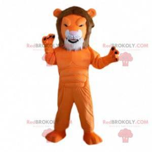 Mascote leão laranja, muito musculoso, fantasia de animal