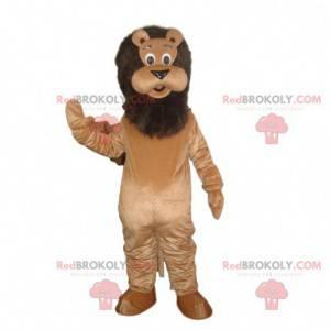 Disfraz de león marrón con melena negra, felino marrón -