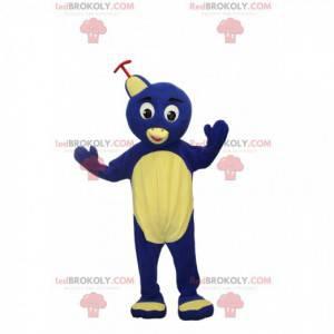 Mascote pássaro amarelo e azul com chapéu e fantasia de pássaro