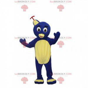 Yellow and blue bird mascot with a hat, bird costume -