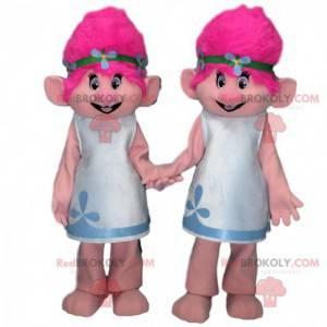 2 troldmaskotter med lyserødt hår, troldedragter -