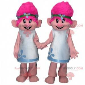 2 Trollmaskottchen mit rosa Haaren, Trollkostüme -