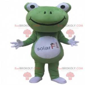 Grünes und weißes Froschmaskottchen mit einem großen Kopf -