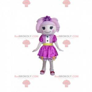 Bambola mascotte con un vestito viola e capelli rosa -