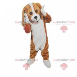 Mascote cachorro marrom e branco, fantasia de cachorrinho em